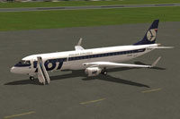 Screenshot of LOT Polish Airlines Embraer 190-LR on the ground.