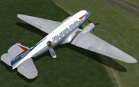 Screenshot of Lake Central Airlines DC-3 on the ground.