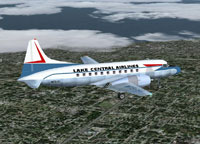 Screenshot of Lake Central Convair 340 in flight.