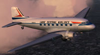 Screenshot of Lake Central Douglas DC-3 in flight.