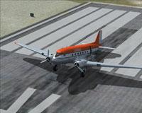 Screenshot of Lambair Douglas DC-3 on runway.