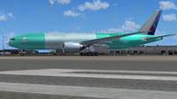 Screenshot of Lan Cargo Boeing 777 F on the ground.