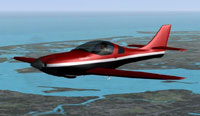 Screenshot of red, black and white Lancair in flight.