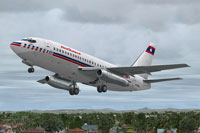 Screenshot of Lao Aviation Boeing 737-200 taking off.