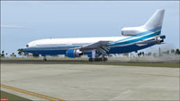 Screenshot of Las Vegas Sands Lockheed TriStar on runway.