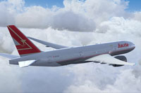 Screenshot of Lauda Air Boeing 777-200LR in flight.