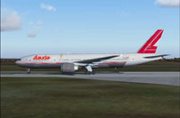 Screenshot of Lauda Air Boeing 777-2Z9/ER on runway.