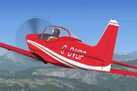 Screenshot of a red Falco F8L, G-BVDP, in flight.