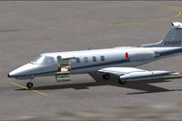 Screenshot of Learjet 25 on the ground.
