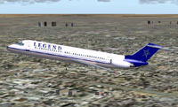 Screenshot of Legend Airlines Douglas DC-9-32 in flight.