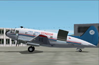 Screenshot of Linea Aerea Condor Curtis C-46C on the ground.