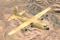Screenshot of Lockheed C-130E in flight.