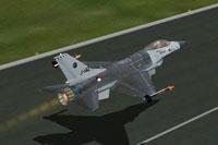 Screenshot of Lockheed Martin F-16 taking off.