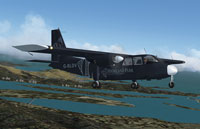 "Screenshot of Logan Air BN Islander ""Highland Park"" in flight."