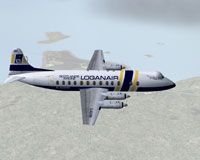 Screenshot of Loganair V.802 Viscount in flight.