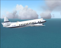 Screenshot of London European Airways Viscount 806 in flight.
