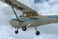 Screenshot of Los Halcones Cessna 172 in flight.