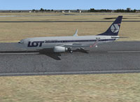 Screenshot of Lot Polish Airlines Boeing 737-800 on runway.