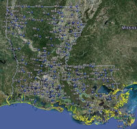 Overview of Louisiana Airfields.