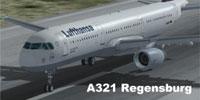 Screenshot of A321 Regensburg on runway.