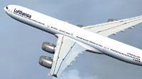 Screenshot of Lufthansa Airbus A340-600 in flight.