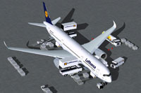 Screenshot of Lufthansa Airbus A350-900 with ground services.