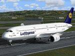 Screenshot of Lufthansa Airbus A350 on runway.