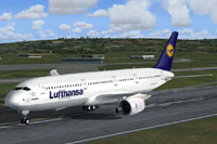 Screenshot of Lufthansa Airbus A350 on runway.