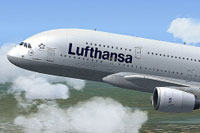 Screenshot of Lufthansa Airbus A380 in flight.