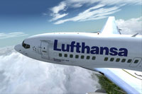 "Screenshot of Lufthansa ""Anklam"" Boeing B737-600 NG in flight."