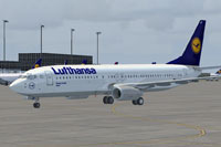 Screenshot of Lufthansa Boeing 737-800 on the ground.