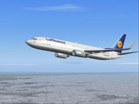 Screenshot of Lufthansa Boeing 737-800 in flight.