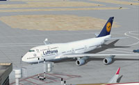 Screenshot of Lufthansa Boeing 747-400 on the ground.
