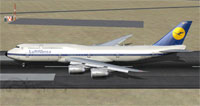 Screenshot of Lufthansa Boeing 747-830I on runway.