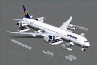 Screenshot of Lufthansa Boeing 787-10 and ground services.