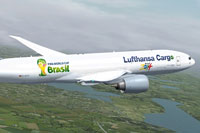 Screenshot of Lufthansa Cargo Special Edition WM2014 Boeing 777 in flight.