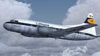 Lufthansa Convair CV-440 in the air.