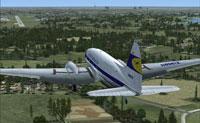 Lufthansa Curtiss C-46 on landing approach.