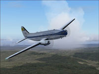 Screenshot of Lufthansa Curtiss C46 Commando in flight.