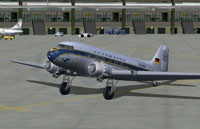 Screenshot of Lufthansa Douglas DC-3 on the ground.