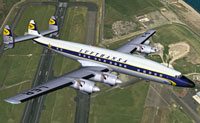 Screenshot of Lufthansa Lockheed L-1649A Starliner in the air.