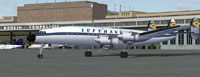Screenshot of Lufthansa Lockheed L-1649A Starliner on the ground.