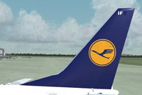 """image showing the tail decal of the Lufthansa """"Paulchen"""" Boeing 737-600 NG."""