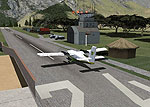 Screenshot of plane on runway at Lukla.