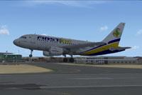 Screenshot of Lusitaniair Airbus A318 taking off.