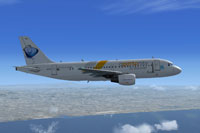 Screenshot of Lusitaniair Airlines Airbus A319 in flight.