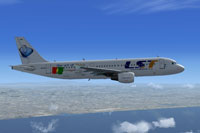 Screenshot of Lusitaniair Airlines Airbus A320 in flight.