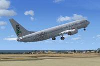 Screenshot of Lusitaniair Boeing 737-800WL taking off.