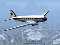 Screenshot of MAAM-SIM DC-3 World Rally 2005 in flight.