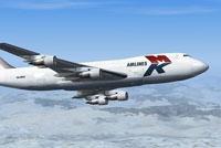 Screenshot of MK Airlines Boeing 747-2R7F SCD in flight.